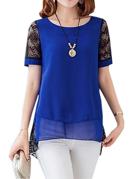 Special Lace Short Sleeves Chiffon Blouse