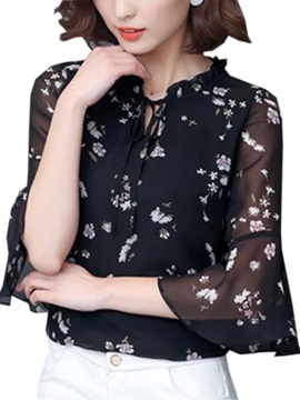 Stylish Flare Sleeves Floral Printed Blouse