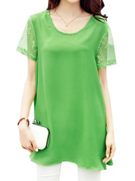 See-through Lace Sleeves Chiffon Blouse
