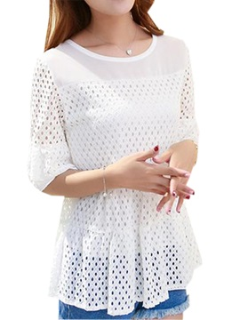 Chic Hollow Fabric Half Sleeves Blouse