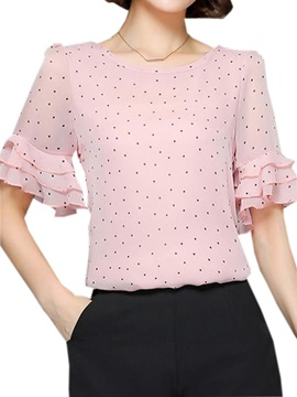 Special Double-Layer Cuff Polka Dots Blouse