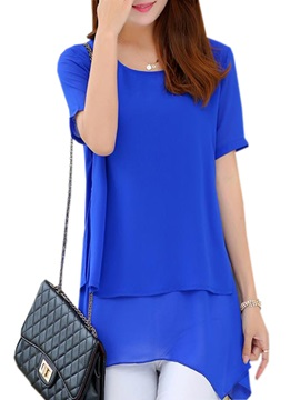 Special Double-Layer Hem Slim Chiffon Blouse