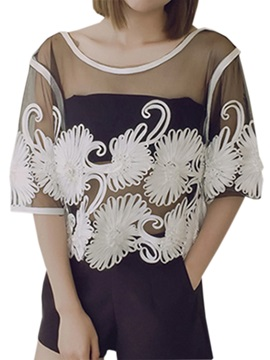 Special Pattern See-through Short Blouse