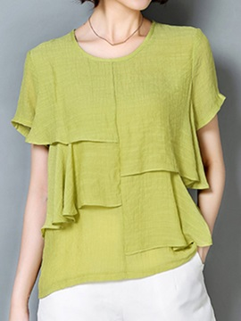 Stylish Asymmetrical Pleated Decoration Short Blouse