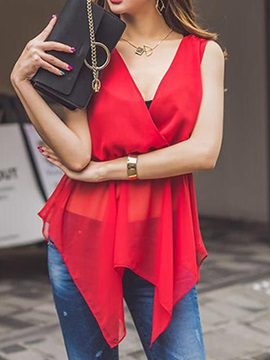 Stylish Asymmetrical Hem See-through Blouse