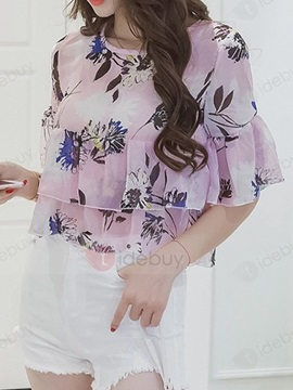 Flowers Printed Double-Layer Short Blouse