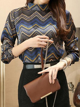 Special Pattern Slim Blouse