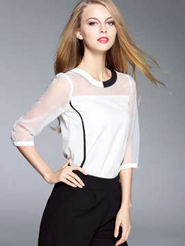 Stylish Patchwork See Through Half Sleeve Blouse