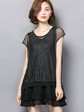 Stylish Solid 2 in 1 Mid-Length Blouse