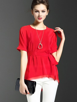 Stylish Solid Color Lace-Up Blouse