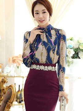 Stylish Print Stand Collar Blouse