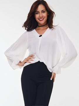 Stylish Button Decorated Loose Sleeve Blouse