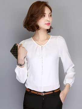 Stylish Lantern Sleeve Slim Blouse