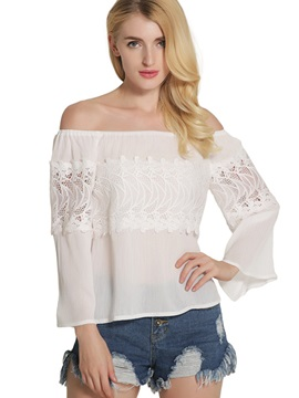 Stylish Slash Neck Lace Blouse