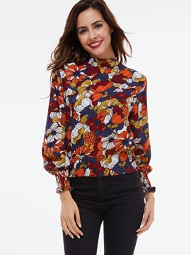 Stylish Floral Printed Round Neck Blouse
