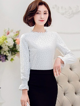 Stylish Petal Collar Slim Blouse