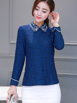 Stylish Embroidery Lapel Slim Blouse