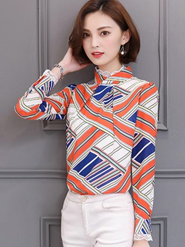 Stylish Color Block Stand Collar Blouse
