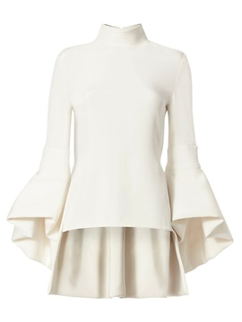 Stylish Plain Stand Collar Flare Sleeves Blouse