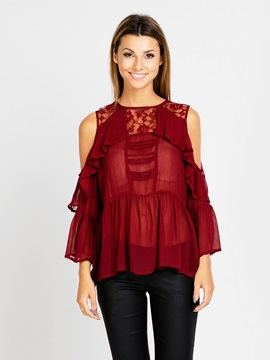 Stylish Lace Off Shoulder Plain Blouse