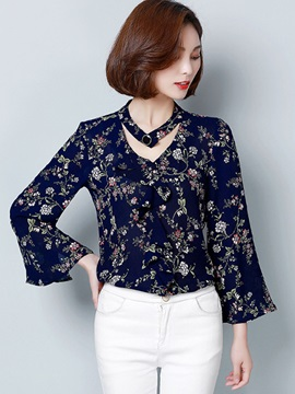Stylish Floral Print V-Neck Blouse