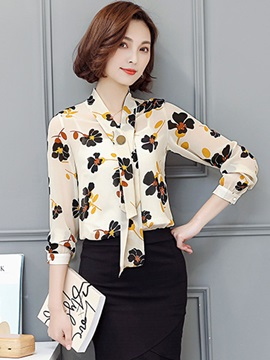 Stylish Floral Print V-Neck Chiffon Blouse