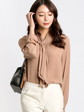 Stylish Lace-Up Collar Plain Blouse