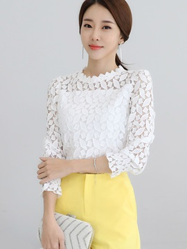 Chic Geometric Lace Plain Blouse