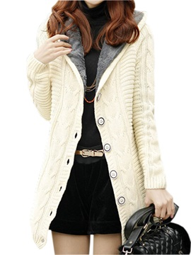 Multi Color with Velvet Hooded Thick Long Sweater
