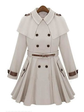 Gorgeous Caped Top Pleated Trench Coat