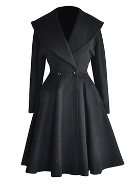 Chic  Lapel  Big  Hem  Slim  Trench  Coat