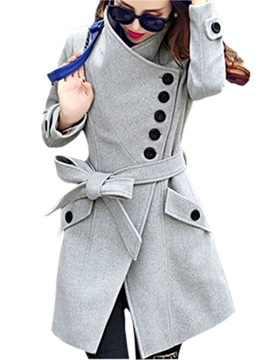 Stylish High Collar Big Pocket Slim Trench Coat