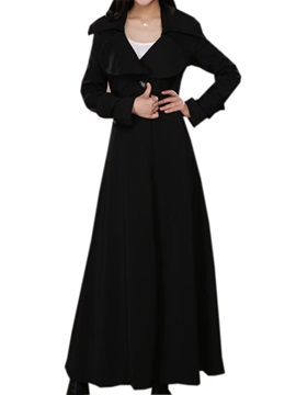 Stylish Lapel One Button Long Trench Coat
