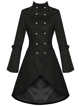 Cool Swallowtail Rivet Decoration Trench Coat