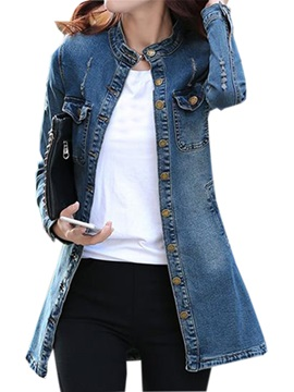Cool Collar Denim Slim Trench Coat
