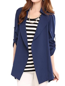 Chic Roll-up Sleeves Trench Coat