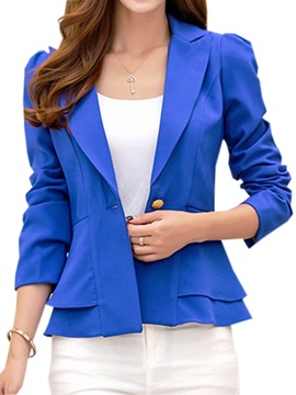 Chic Double-Layer Hem One Button Blazer