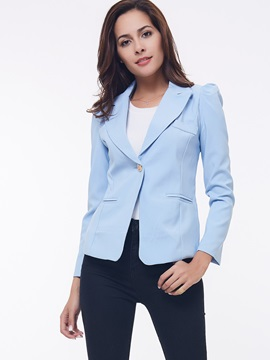 Chic Pocket Decoration One Button Work Blazer