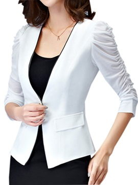 Stylish Pleated Sleeves One Button Blazer