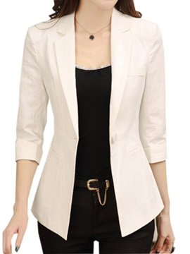 Chic Lapel Three-Quarter Sleeves Work Blazer