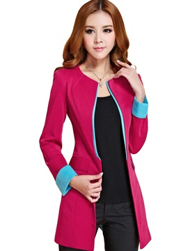 Stylish Collar Color Cuff Slim Blazer