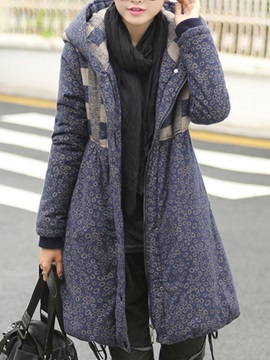 Stylish Plaid Hooded Warm Overcoat