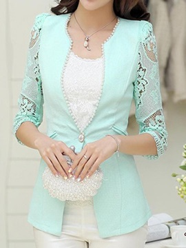 Stylish Bead Decoration Collar Lace Sleeves Blazer