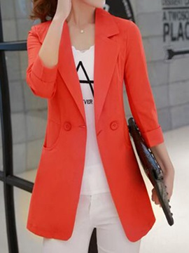 Double Button Three-Quarter Sleeves Blazer