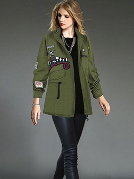 Casual England Patch Decorated Trench Coat