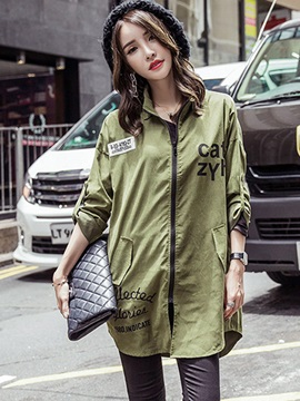 Chic Letters Print Loose Trench Coat