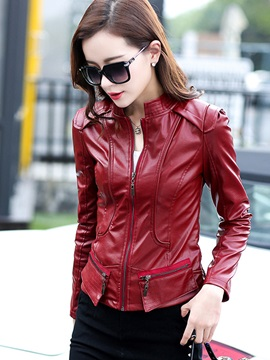 Cool Stand Collar Slim PU Jacket
