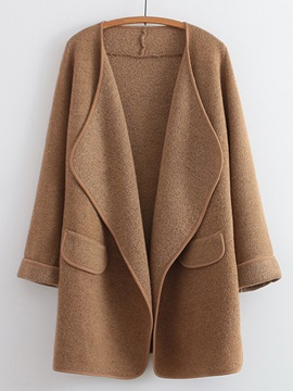 Stylish Solid Color Lapel Loose Overcoat