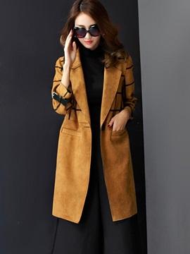 Chic Suede Fabric Mid-Length Overcoat