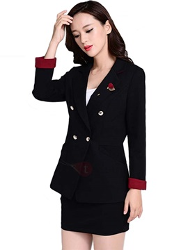 Stylish Brooch Decorated Double-Breasted Blazer